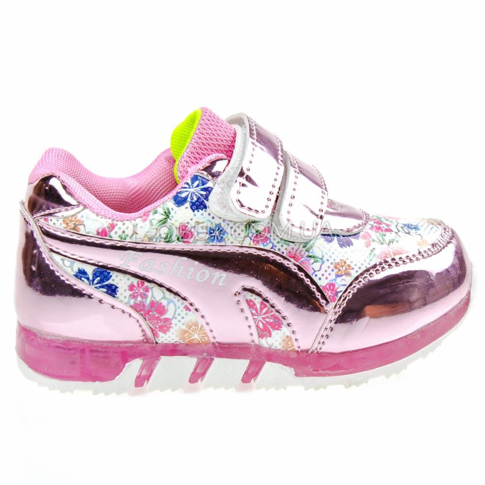 Светящиеся кроссовки, мигающая подошва, розовые 1501-3