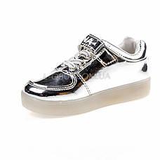 Светящиеся кроссовки, на батарейках, мигающая подошва, серебро 1701-5, фото 2