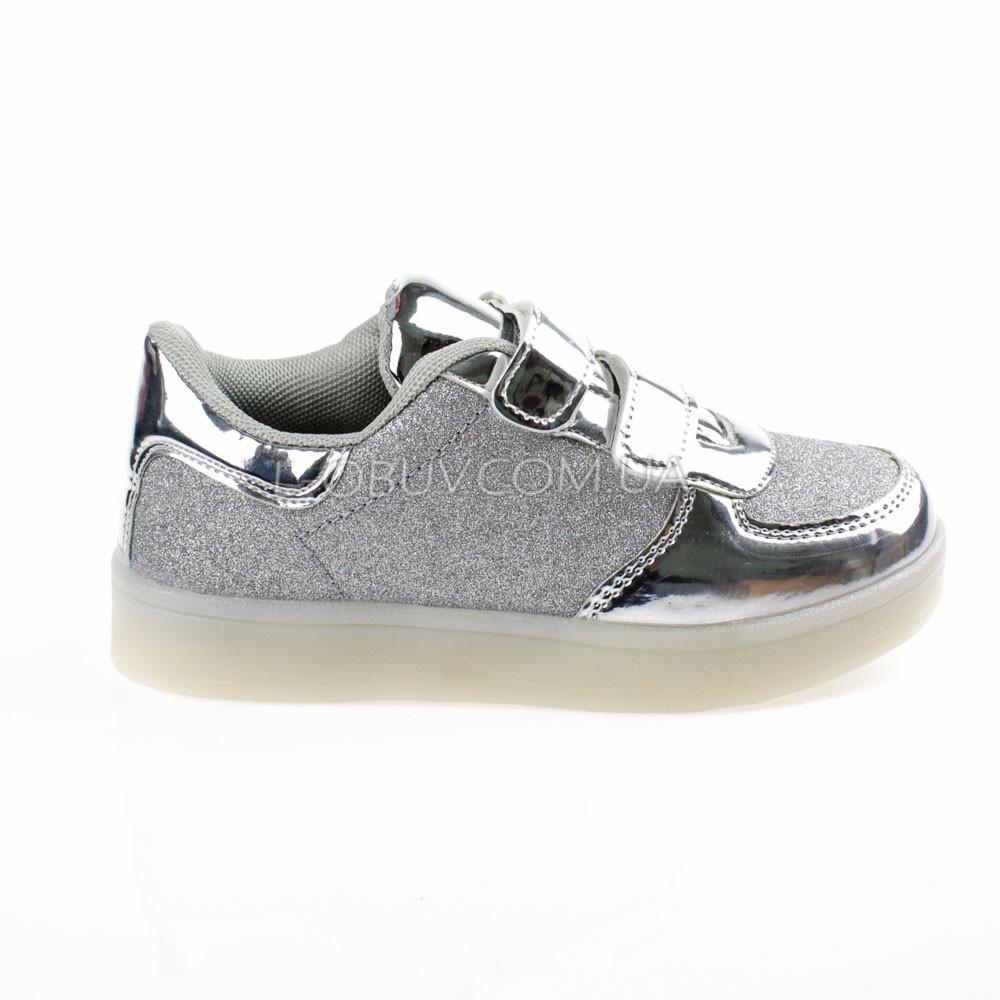 Светящиеся кроссовки, мигающая подошва, серые 701-5