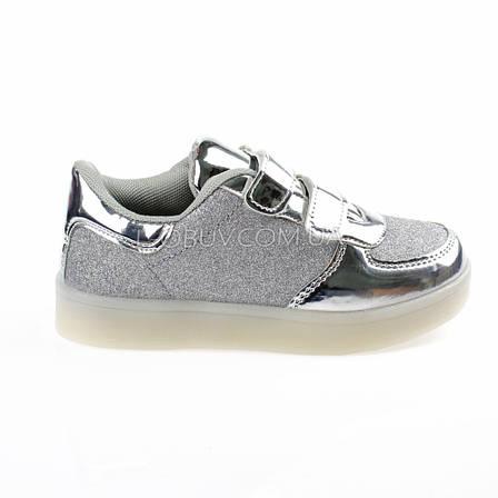 Светящиеся кроссовки, мигающая подошва, серые 701-5, фото 2