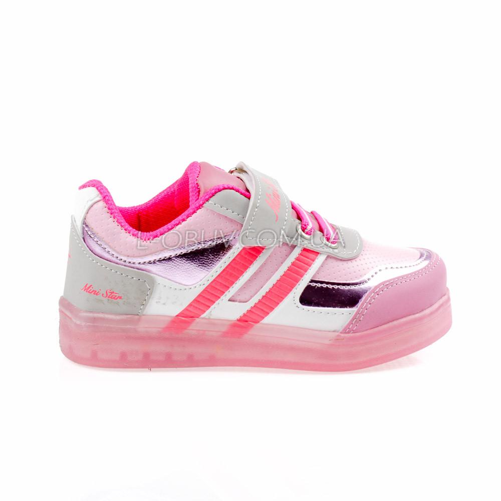 Светящиеся кроссовки, на батарейках, мигающая подошва, розовые 1801-5