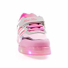 Светящиеся кроссовки, на батарейках, мигающая подошва, розовые 1801-5, фото 2