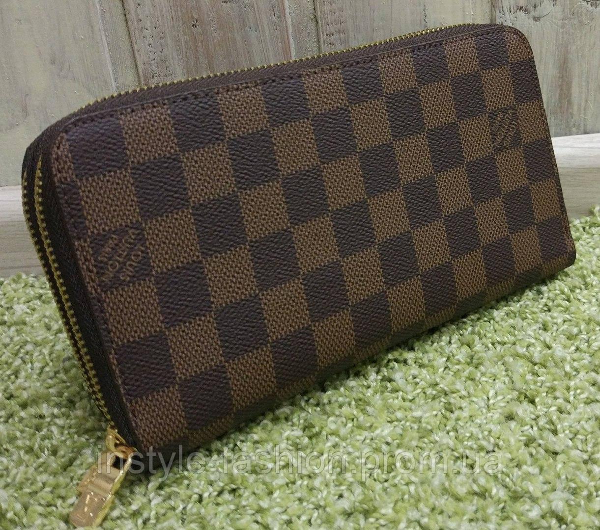 ab78ae154643 Кошелек женский брендовый Louis Vuitton Луи Виттон на две змейки коричневый