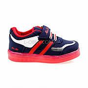 Светящиеся кроссовки, на батарейках, мигающая подошва, сине-красные 1801-4