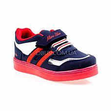Светящиеся кроссовки, на батарейках, мигающая подошва, сине-красные 1801-4, фото 2