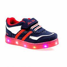 Светящиеся кроссовки, на батарейках, мигающая подошва, сине-красные 1801-4, фото 3