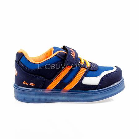 Светящиеся кроссовки, на батарейках, мигающая подошва, синие 1801-1, фото 2