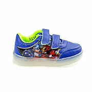Светящиеся кроссовки, мигающая подошва, синие, железный человек 903-9