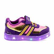 Светящиеся кроссовки, на батарейках, мигающая подошва, фиолет-золотые 1801-2