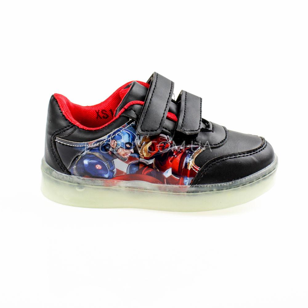 Светящиеся кроссовки, мигающая подошва, черные, капитан америка 903-2