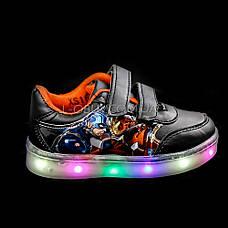 Светящиеся кроссовки, мигающая подошва, черные, капитан америка 903-2, фото 2