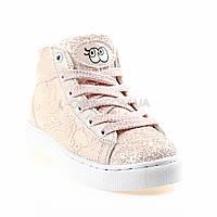 Сникерсы, кеды, кроссовки высокие с пайетками розовые 310-3