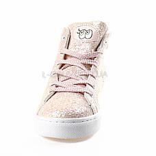 Снікерси, кеди, кросівки високі з паєтками рожеві 310-3, фото 3