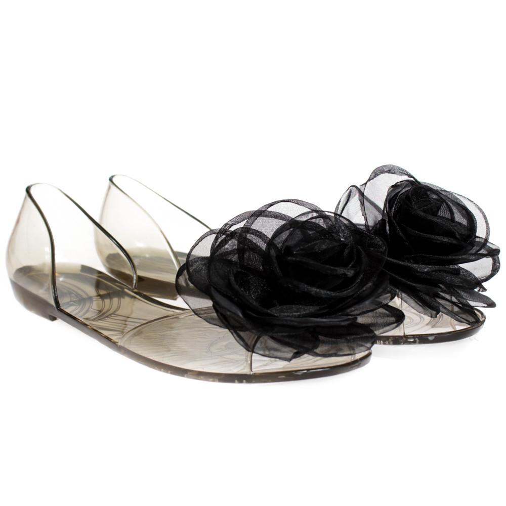 Балетки, босоножки, тапочки резиновые черного цвета 8402