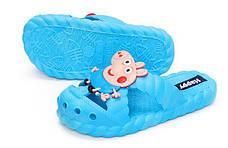 Детские шлепки - вьетнамки - сланцы Свинка Пеппа - Джордж голубые 8301-6, фото 2
