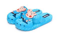 Детские шлепки - вьетнамки - сланцы Свинка Пеппа - Джордж голубые 8301-6, фото 3