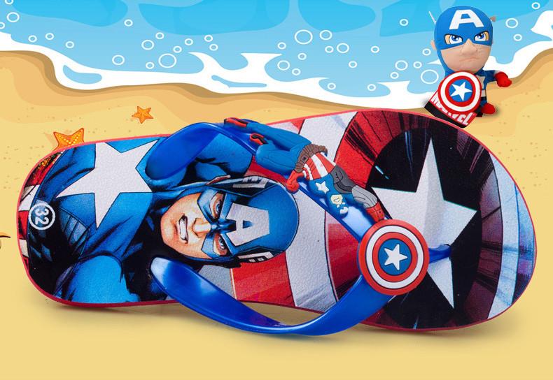 Детские шлепки - вьетнамки - сланцы Капитан Америка синяя подошва 8509