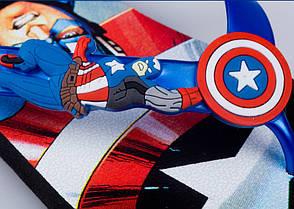 Детские шлепки - вьетнамки - сланцы Капитан Америка синяя подошва 8509, фото 2
