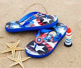 Детские шлепки - вьетнамки - сланцы Капитан Америка синяя подошва 8509, фото 3