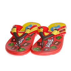 Детские шлепки - вьетнамки - сланцы Angry birds красного цвета 8207, фото 2