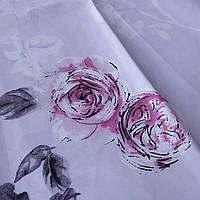 Сатин с нежными цветами на бледном сиреневом фоне, ширина 220 см, фото 1