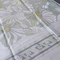 Сатин с купонным рисунком с оливковыми цветами, ширина 220 см, фото 1
