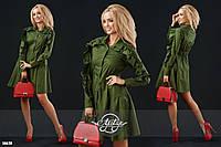 Платье женское коттоновое с объёмной юбочкой и воланами зеленое