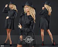 Платье женское коттоновое с объёмной юбочкой и воланами черное