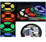 Светодиодная лента RGB 5050 +КОНТРОЛЛЕР+ПУЛЬТ+БЛОК ПИТАНИЯ. LED лента 5050 RGB комплект 5 м.