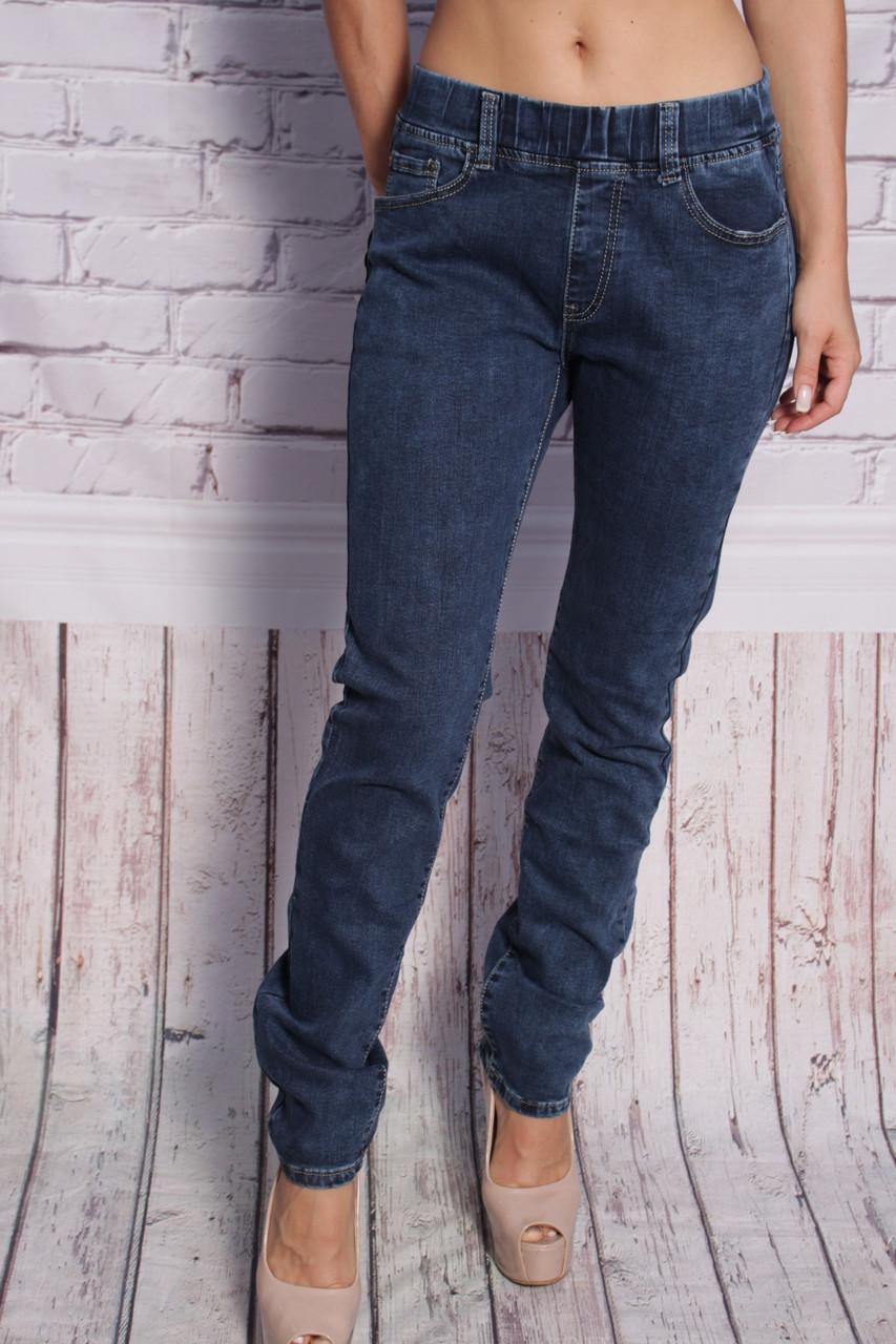 Женские джинсы большого размера без застежки пояс на резинке (код 1548)30-35 размеры