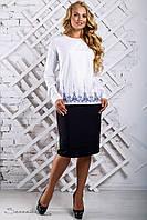 Белая классическая блуза с современной вышивкой большого размера 50 размера, фото 1