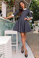 Джинсовое женское стрейчевое платье с расклешенной юбкой темно-синее