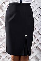 Класична жіноча спідниця зі шліцом і брошкою з італійської костюмної тканини великі розміри 50-56, фото 1