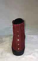 Кеди жіночі високі натуральна замша на шнурівці бордового кольору, фото 2