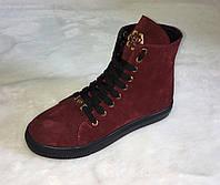 Кеды женские высокие натуральная замша на шнуровке бордового цвета