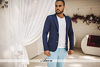 Пиджак мужской Ткань: кукурудза Цвета: голубой, темно-синий, черный, бежевый ввлад №5418