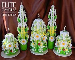 Интерьерный  набор резных свечей ручной работы