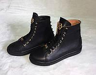 Кеды женские высокие на шнуровке черные