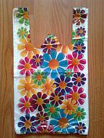 """Пакет """"Цветы"""" 26*46 см/16 мкм, полиэтиленовые пакеты майка купить от производителя"""