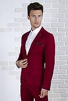 Пиджак бордовый лён