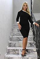 Облегающее женское ангоровое платье с длинным рукавом с манжетами и вырезами на плечах черное