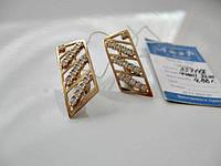 Сережки с камнями фианитами 4.88 грамма ЗОЛОТО 585 пробы