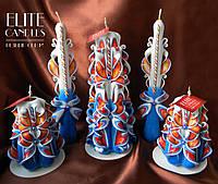 Сине-огненный набор резных свечей ручной работы