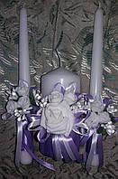 """Комплект свадебный свечей """"Сиреневый букет"""""""