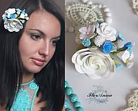 """Заколка """"Викторианская нежность"""" с цветами из полимерной глины, фото 1"""