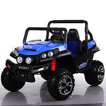 Детский 4-х моторный электромобиль джип 2-х местный Багги M 3454 EBLR-4, кожаное сиденье и мягкие колеса