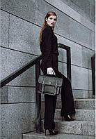 Черный женский кожаный сэтчел на портфельных замках