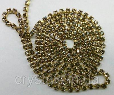 Стразовая цепь Preciosa (Чехия) ss8.5 Black Diamond/латунь