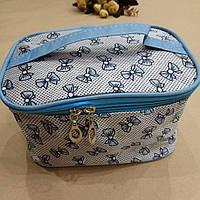 Косметичка-чемоданчик 9/18/12см CR466 бантики голубые