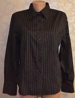 Класична, чорна рубашка в полоску